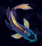 FiskKoi f?r hand utdragen etnisk karp - symbol av harmoni, vishet Isolerad vektorillustration Andlig konst f?r tatuering stock illustrationer