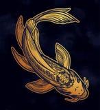 FiskKoi f?r hand utdragen etnisk karp - symbol av harmoni, vishet Isolerad vektorillustration Andlig konst f?r tatuering vektor illustrationer