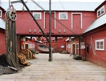 Fiskkonservfabrikbyggnad royaltyfri bild