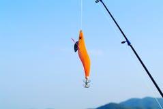 Fiskkrok och fiskstång royaltyfria foton