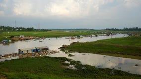 Fisklantbruk på den LaNga floden Royaltyfri Fotografi