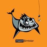 Fiskleende för lycklig födelsedag royaltyfri illustrationer