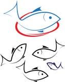 Fisklogo royaltyfri illustrationer