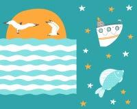 Fiskmåsar flyger på solnedgången med skeppet och fisken stock illustrationer