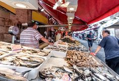 Fiskmarknad av Syracuse Sicilien royaltyfria foton