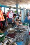 Fiskmarknad i Asien Arkivfoton