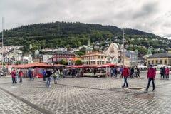 Fiskmarknad i Bergen Arkivfoton