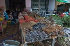 Fiskmarknad i Can Tho, Vietnam arkivbilder