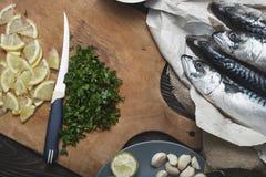 fiskmatförberedelse arkivfoto