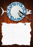 Fiskmenydesign Arkivfoto