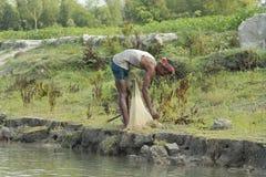 Fisknät i Bangladesh royaltyfri fotografi