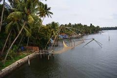 Fisknät i Kerala Arkivbilder