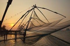 Fisknät Kerala avkrokar, Indien Fotografering för Bildbyråer