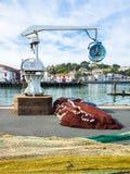 Fisknät, kranar & port på helgonet Jean De Luz, baskiskt land Fotografering för Bildbyråer
