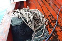 Fisknät och rep Arkivfoto