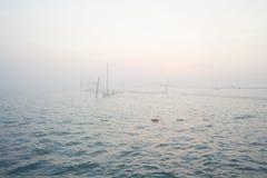 Fisknät på Blacket Sea Royaltyfria Foton
