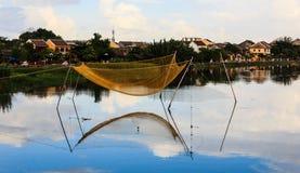 Fisknät på floden Hoi An Royaltyfri Bild