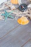 Fisknät på träbakgrund Royaltyfria Bilder