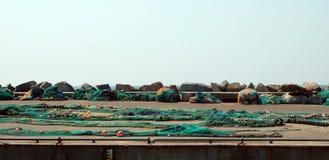 Fisknät som torkar i hamnen Fotografering för Bildbyråer
