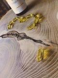 Fiskolja, omega 3 kapslar på den wood tabellen arkivbild
