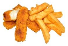 Fiskpinnar och chiper arkivfoto