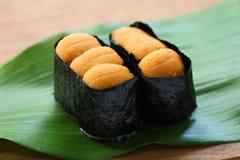 Fiskrom för havsgatubarn, japansk sushi, uni gunkanmaki Arkivfoto