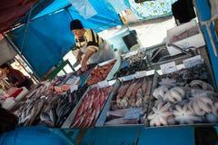 Fisksäljare i Malta Arkivbilder