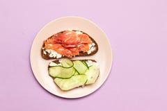 Fisksm?rg?s med ost och gurkan p? bakgrunden arkivfoton