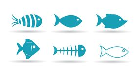 Fisksymboler vektor illustrationer