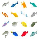 Fisksymbolsuppsättning, isometrisk stil 3d royaltyfri illustrationer