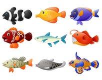 Fisktecknad filmuppsättning stock illustrationer