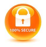 100% fissa il bottone rotondo arancio vetroso Fotografie Stock Libere da Diritti