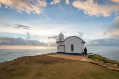 Fissaggio del porto Macquarie di alba del faro del punto Fotografia Stock Libera da Diritti
