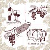 Fissi i simboli sul tema dell'uva, del vino rosso e della vinificazione Fotografie Stock