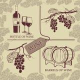 Fissi i simboli sul tema dell'uva e del vino Fotografia Stock Libera da Diritti