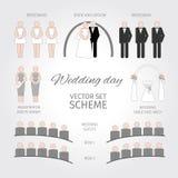 Fissi il giorno delle nozze schema illustrazione vettoriale