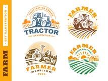 Fissi il logo dell'azienda agricola dell'illustrazione su fondo scuro Immagini Stock Libere da Diritti