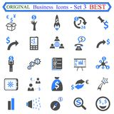Fissi il numero tre delle icone di affari - vettore di riserva illustrazione vettoriale