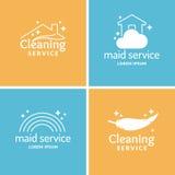 Fissi il servizio della domestica e di pulizia Raccolta dell'etichetta illustrazione di stock