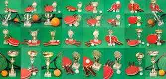 Fissi il tennis dei premi di sport su un verde immagini stock