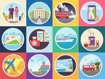 Fissi il turismo con il viaggio veloce dei concetti del mondo infographic Posizioni e oggetti di giro di vacanza Viaggio sull'acq royalty illustrazione gratis