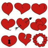 Fissi il vettore rosso- del cuore Immagine Stock