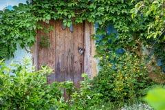 Fissi la porta di vecchia casa abbandonata Abbandonato alloggiando durin Immagine Stock
