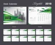Fissi la progettazione 2018, copertura del modello del calendario da scrivania di verde royalty illustrazione gratis