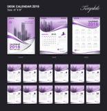 Fissi la progettazione 2018, la copertura porpora, un insieme del modello del calendario da scrivania di 12 mesi illustrazione di stock