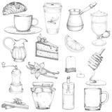 Fissi lo stile di schizzo degli elementi di vettore del caffè e del tè illustrazione vettoriale