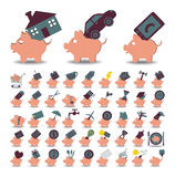 Fissi un porcellino salvadanaio e un risparmio di 48 icone Immagini Stock