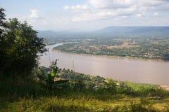 Fissi una fotografia il Mekong a Nong Khai Fotografie Stock Libere da Diritti