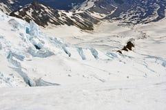 Fissuras e terreno glacial no Monte Rainier Fotografia de Stock