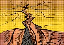 Fissure dans la prise de masse La crise et la chute d'une allégorie illustration de vecteur